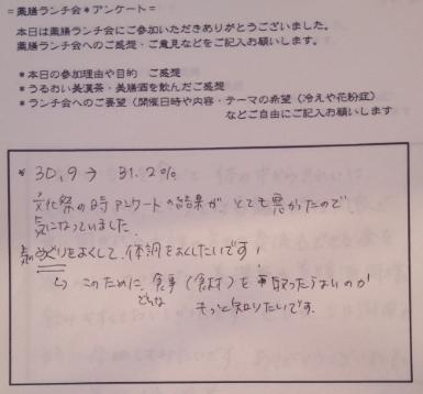 2012/12/9おいしい薬膳ランチ会お客様の声
