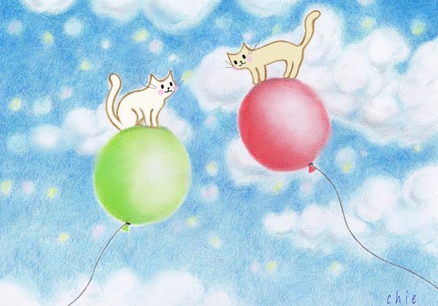 ネコと風船出会い